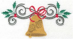 Swirly Christmas Bell embroidery design
