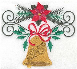 Poinsettia & Bell embroidery design