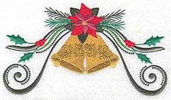 Poinsettia Bells Swirl embroidery design