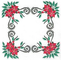 Poinsetta Square embroidery design