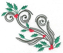 Holly & Berries Swirl embroidery design