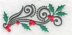 Small Holly Swirl embroidery design