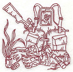 Redwork Gear & Rifle embroidery design