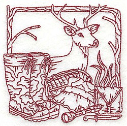 Redwork Deer & Gear embroidery design