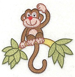 Monkey On Limb embroidery design
