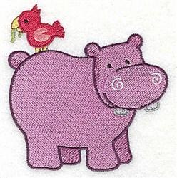 Hippo & Bird embroidery design