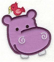 Hippo Head Applique embroidery design