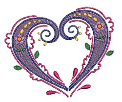 Swirly Floral Heart embroidery design