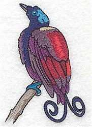 Swirl Tail Bird embroidery design