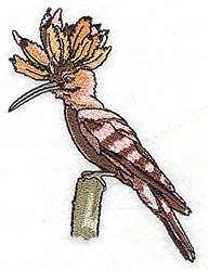 Crested Bird embroidery design