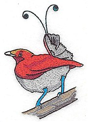 Swirl Taiil Bird embroidery design
