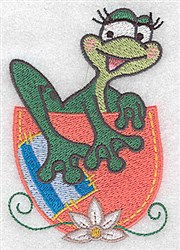 Frog in a Cup embroidery design