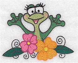 Frog and Flowers embroidery design