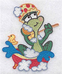 Bathing Frog embroidery design