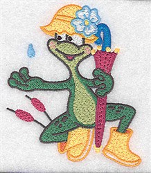 Rainy Day Frog embroidery design
