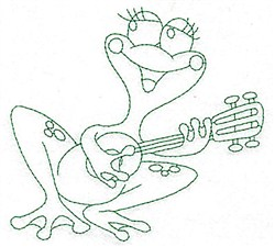 Frog & Guitar Bluework embroidery design