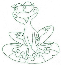 Frog & Lily Pad Bluework embroidery design