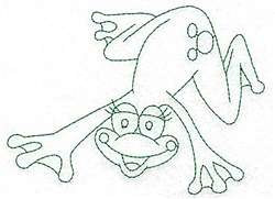 Swimming Frog Bluework embroidery design