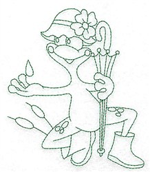 Frog in Rain Bluework embroidery design