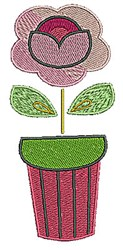 Floral Pot embroidery design