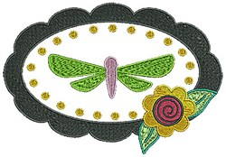 Dragonfly Oval embroidery design