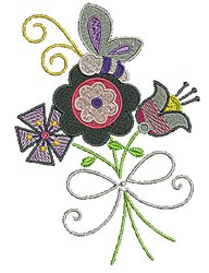 Flowers Ribbon Butterfly embroidery design