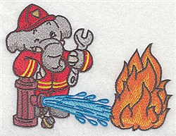 Elephant & Hydrant embroidery design