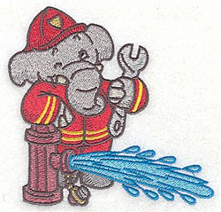 Elephant At Hydrant embroidery design
