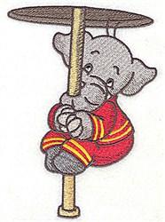 Fire Pole Elephant embroidery design