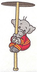 Elephant On Fire Pole embroidery design
