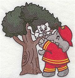 Fireman Rescuing Kitten embroidery design