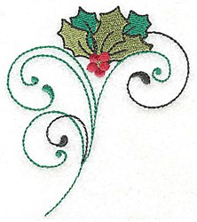 Holly Swirl Bouquet embroidery design
