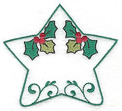 Holly Star embroidery design