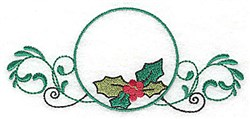 Holly in Circle embroidery design