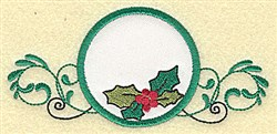 Holly in Circle Applique embroidery design