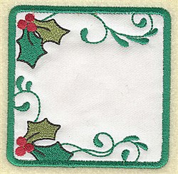 Holly in Square Applique embroidery design