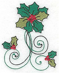 Vertical Holly Swirls embroidery design