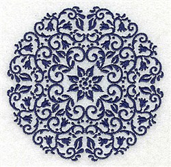Floral Center Circle embroidery design