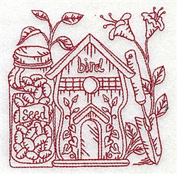 Birdhouse & Flowers embroidery design