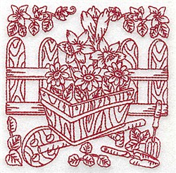 Wheelbarrow & Flowers embroidery design