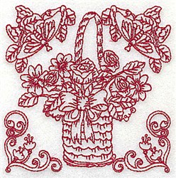 Floral Basket & Butterflies embroidery design