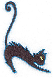 Hissing Black Cat embroidery design