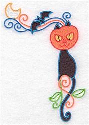 Black Cat Pumpkin Corner embroidery design