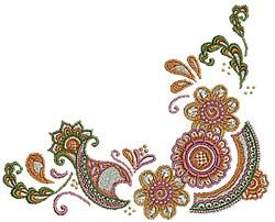 Henna Corner Blooms embroidery design
