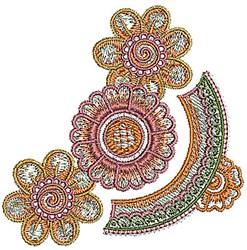 Henna Corner Flowers embroidery design
