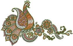 Henna Paisley Bird embroidery design