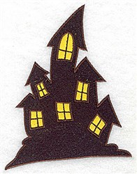 Haunted house double applique embroidery design
