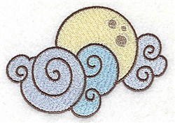 Moon And Clouds embroidery design