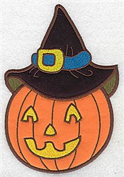 Pumpkin With Hat Applique embroidery design