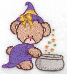 Witch Bear & Cauldron embroidery design